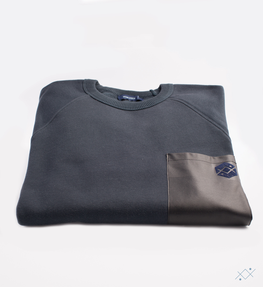Navy cotton sweat with raglan sleeves and black faux leather - view2