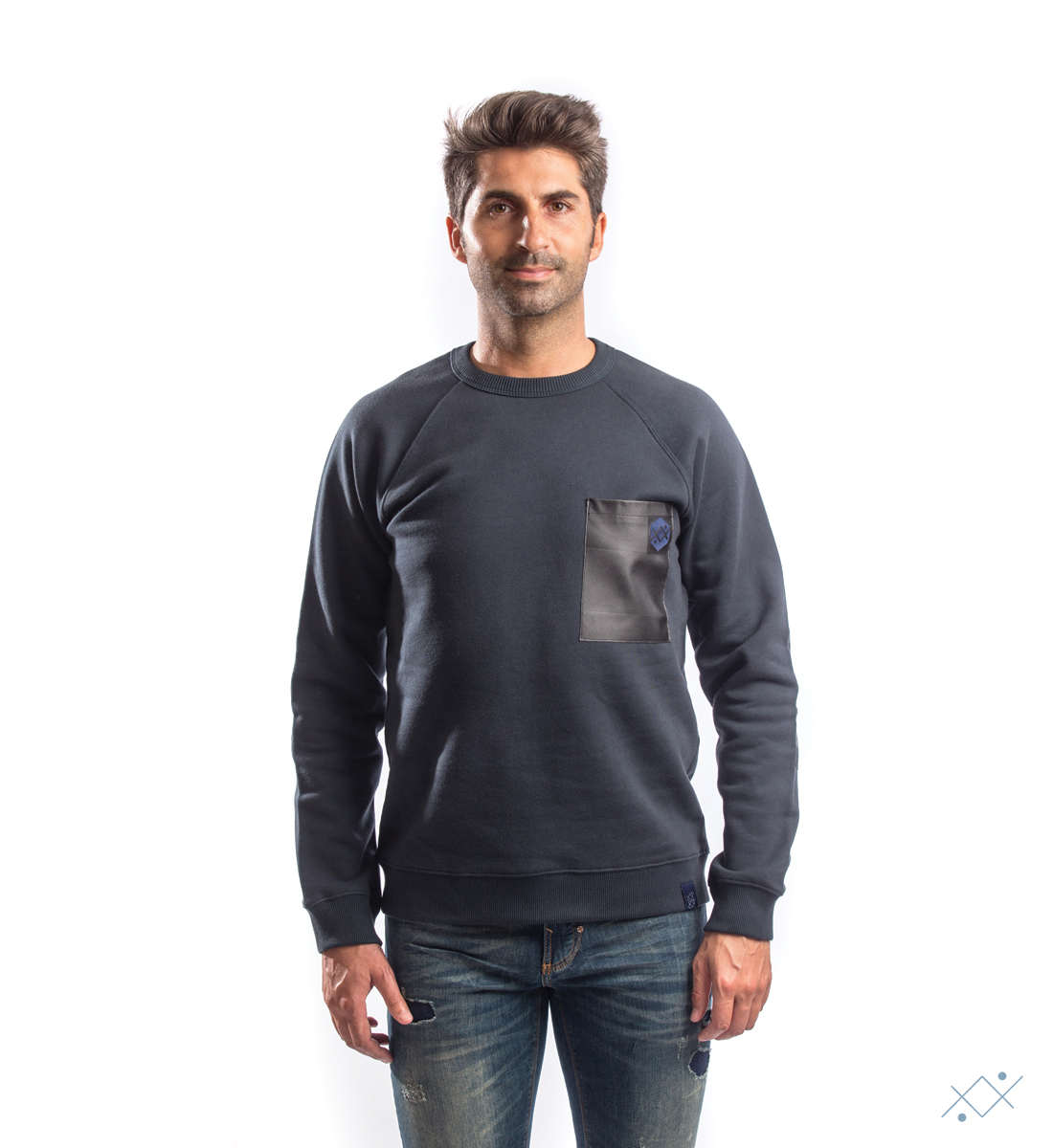 Navy cotton sweat with raglan sleeves and black faux leather - list