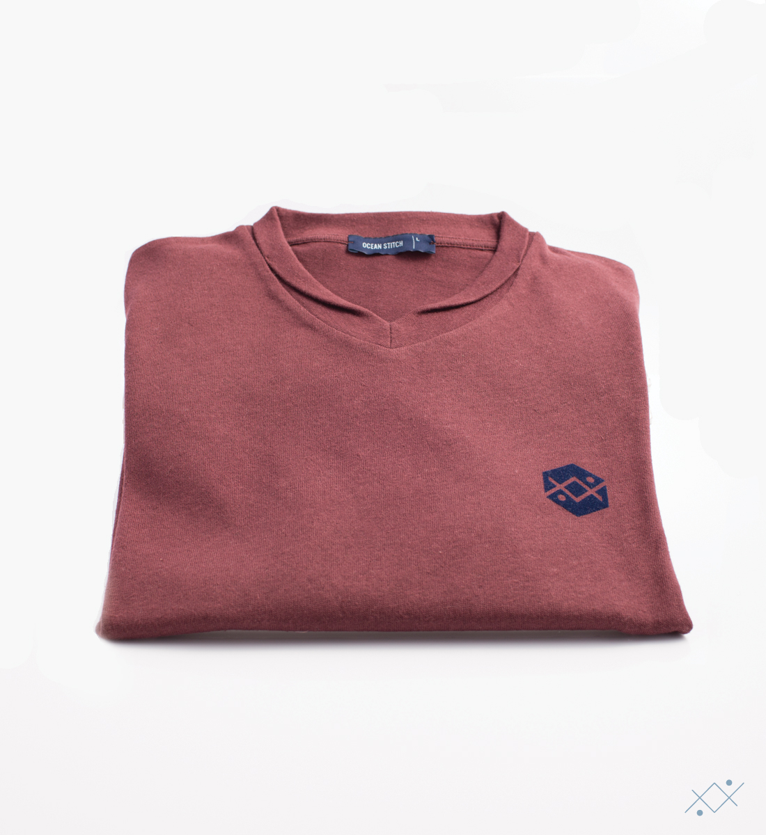 Classic bordeaux knitwear with applied velvet logo on light blue - view2