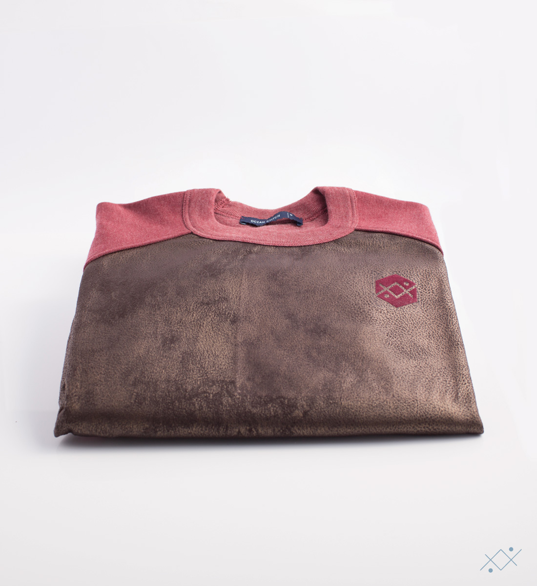 Bordeaux melange cotton in sleeves and back combined with faux leather - view2