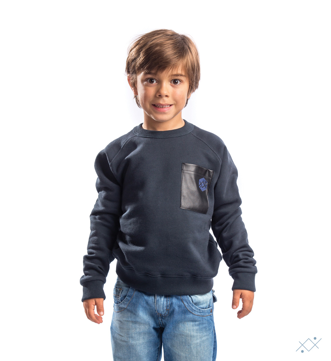 Kids navy cotton sweat with raglan sleeves - list