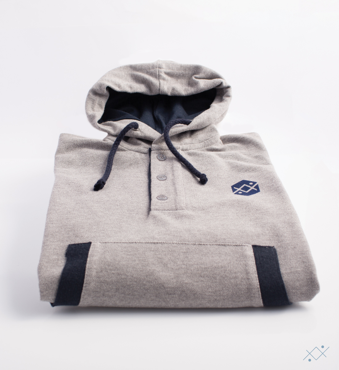 Grey heavy Piquet Hoodie made of 100% soft cotton - view2