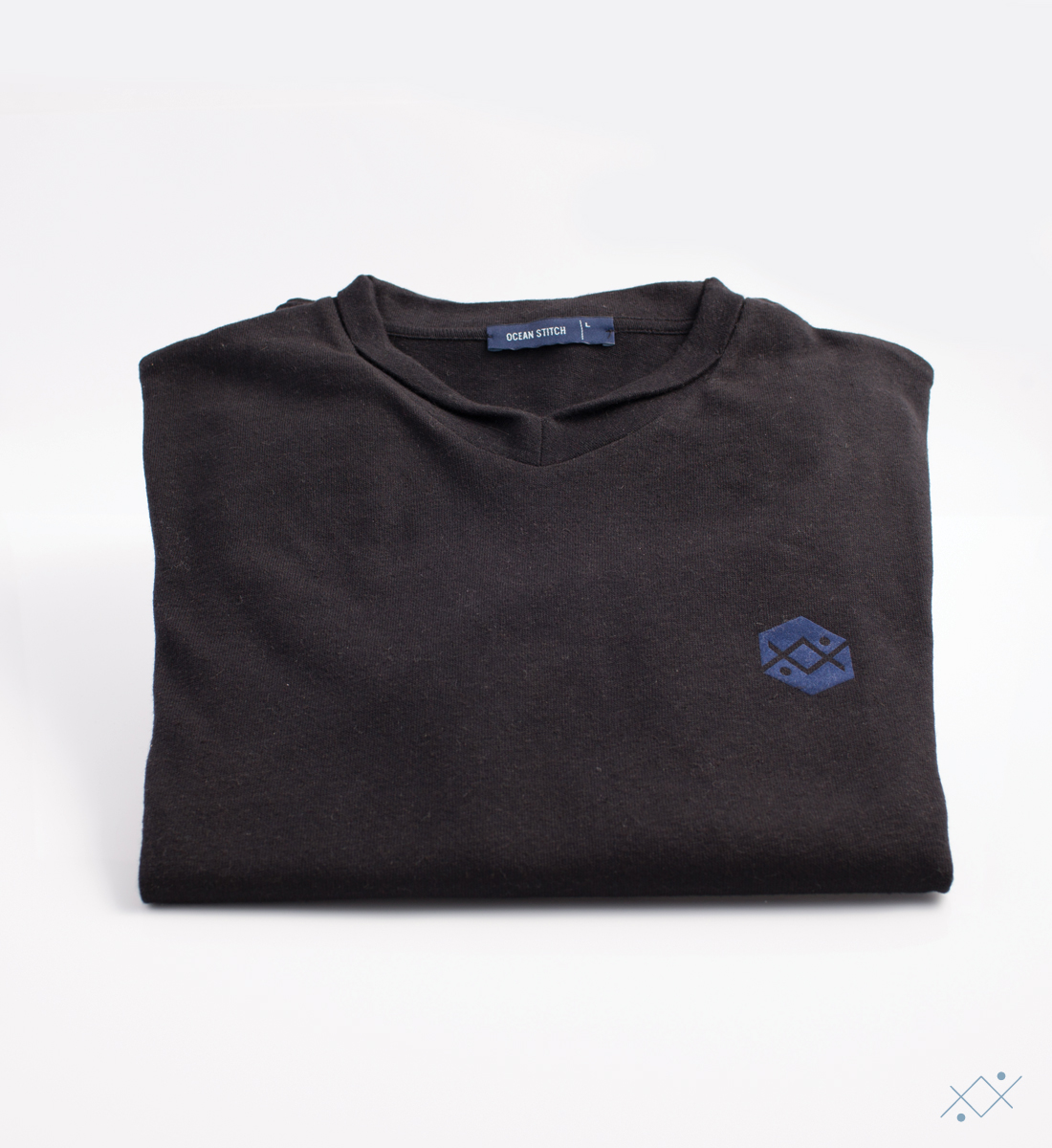 Classic black knitwear with applied velvet logo on light blue - view2