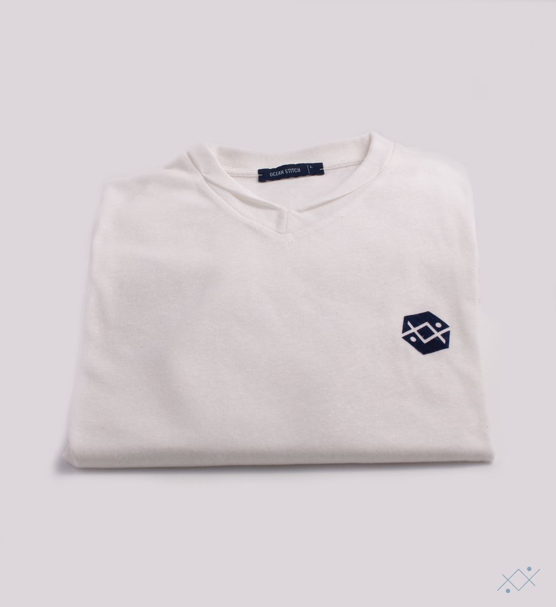 Classic white knitwear with applied velvet logo on light blue - view2