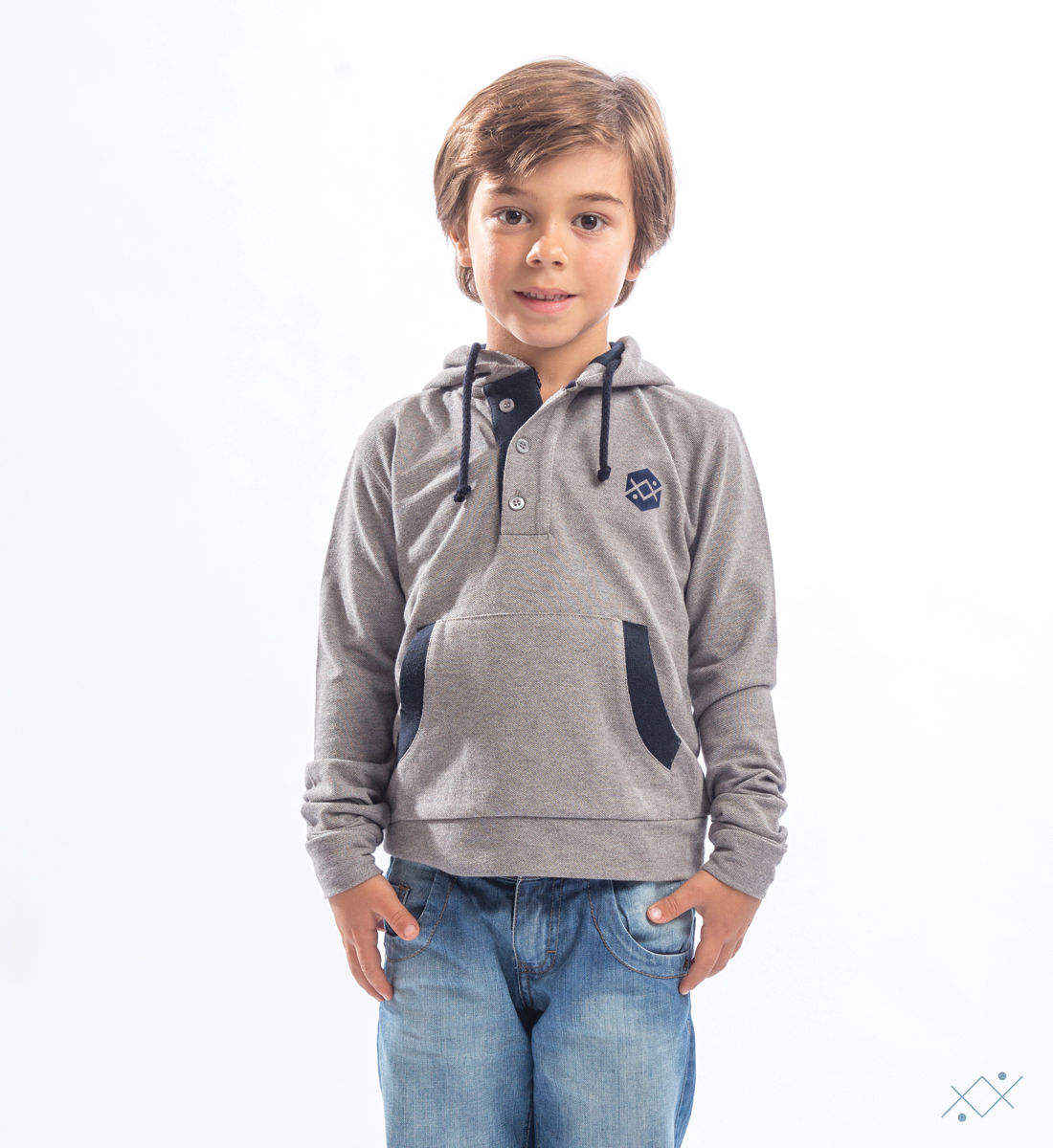Grey heavy Piquet Hoodie made of 100% soft cotton - list